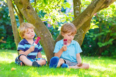 Two little sibling boys eating red ice cream in home's garden. Stock Photos