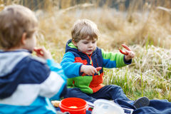 Two little sibling boys having picnic near forest lake, nature Royalty Free Stock Photography