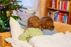 Two little sibling boys reading book on Christmas. Two little blond children reading a book together in bed near Christmas tree with lights and illumination Stock Photography