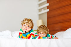 Two little sibling kid boys having fun in bed after sleeping stock photo