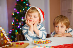 Two little siblings boys happy aboutn selfmade gingerbread cooki Stock Photos