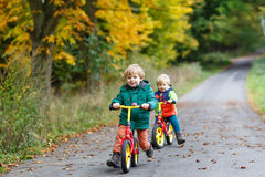 Two little siblings having fun on bikes in autumn forest. Royalty Free Stock Image