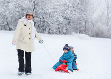 Two little siblings and their mother having fun on sledge on win Royalty Free Stock Photo