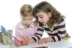 Two little sister student doing homework Royalty Free Stock Images