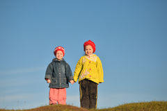 Two little sister on a walk Royalty Free Stock Photography
