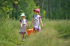 Two little sisters in forest with pannier for picnic Stock Photography