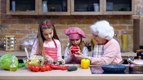 Two little sisters with granny cooking together stock video footage
