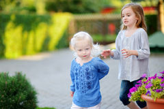 Two little sisters having fun on a summer day Stock Photos