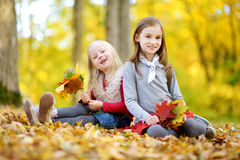 Two little sisters having fun together in beautiful autumn park stock photography