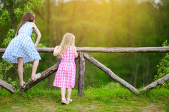 Two little sisters having fun on warm and sunny summer day Royalty Free Stock Images