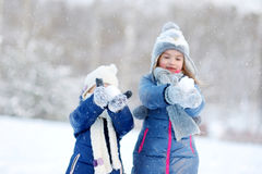 Two little sisters having fun at winter Royalty Free Stock Image