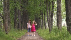 Two little sisters holding hands and cuddling. children`s friendship. Two little girls hold hands and walk down the green alley. children walk outdoors. two stock video footage