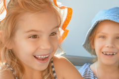 Two little sisters laughing Royalty Free Stock Photos