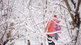 Two little sisters playing in the winter woods between snow-covered trees stock footage