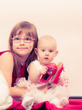 Two little sisters portrait. Royalty Free Stock Image