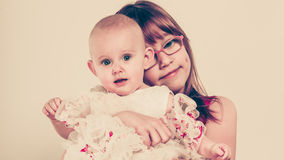 Two little sisters portrait. Stock Photo