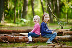Two little sisters sitting on a big log Stock Image