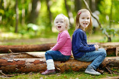 Two little sisters sitting on a big log Royalty Free Stock Photos