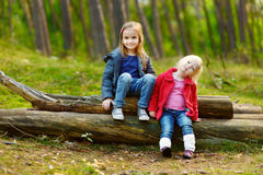 Two little sisters sitting on a log in a forest Royalty Free Stock Photos