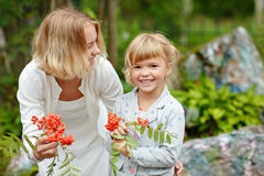 Two little sisters smiling charming girl in a forest and mountain ash in the hands of the summer royalty free stock images
