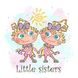 Two little sisters. Twin girls. Vector illustration. royalty free illustration