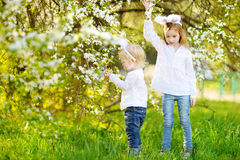 Two little sisters wearing bunny ears on Easter Royalty Free Stock Photography