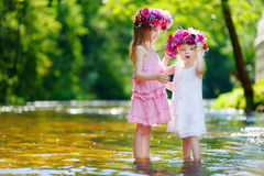 Two little sisters wearing flower crowns Royalty Free Stock Images