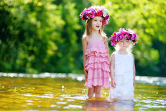 Two little sisters wearing flower crowns Stock Photography