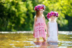 Two little sisters wearing flowers crowns Stock Images