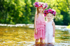 Two little sisters wearing flowers crowns Royalty Free Stock Photography