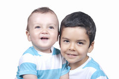 Two little smiling child boy brothers Stock Photo