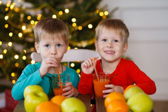 Two little smiling kids, boys drink fruit juice on Christmas tree background. Happy friendly children Stock Images