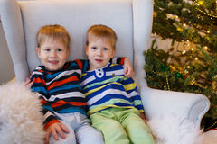 Two little smiling kids, twins boys sitting near Christmas tree. Happy friendly children Royalty Free Stock Images