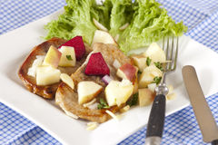 Two little Steaks with apple salad Royalty Free Stock Photos