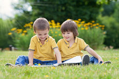 Two little sweet boys, brothers, reading a book in the park Stock Images