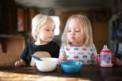Two Little Toddler Girls Eating Breakfast Together. Two happy toddler girls are sitting together at the kitchen table, eating breakfast cereal together on a stock images