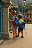 Two little tourists Stock Images
