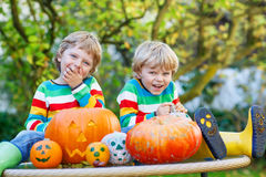 Two little twin boys making jack-o-lantern for halloween in autu Royalty Free Stock Photos
