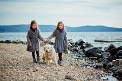 Two little twin sisters on a walk with dog on the beach. Royalty Free Stock Images