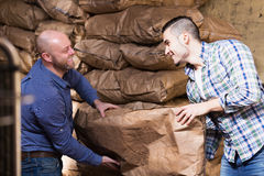 Two loaders handling sacks. Two positive loaders handling sacks with something heavy indoors Royalty Free Stock Images