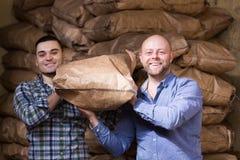 Two loaders handling sacks Royalty Free Stock Photography