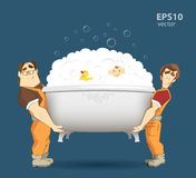 Two loaders movers holding and carrying white bathtub Stock Photos