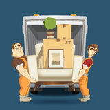 Two loaders movers man holding and carrying armchair Stock Photos