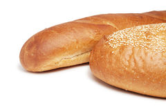 Two loafs of bread isolated over white Royalty Free Stock Photo
