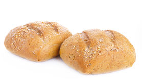 Two loaves of bread on a white background Stock Photo