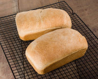 Two loaves of fresh baked bread Stock Photos