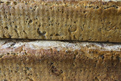 Two loaves of homemade bread. Polish cuisine. Brown bread of rye as a background for a web page stock images
