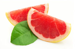 Two lobes of a grapefruit Stock Image