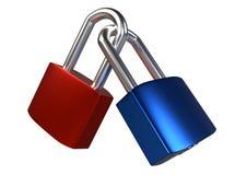 Two locked padlocks isolated on white background. Royalty Free Stock Image