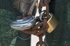 Two Locks And A Chain stock photography